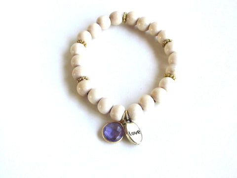 Light Wood Gemstone Love Bracelet