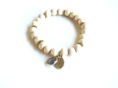Light Wood Gemstone Love Bracelet in Labradorite