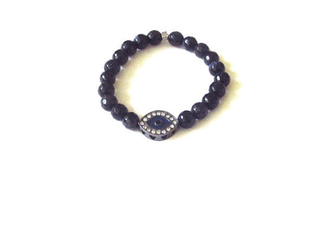 Midnight Agate Evil Eye Bracelet