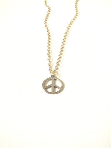 Mix Metal Peace Charm Necklace