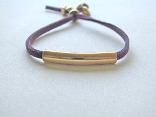 Purple Suede Gold Bar Bracelet
