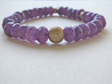 Purple Jade Awareness Bracelet