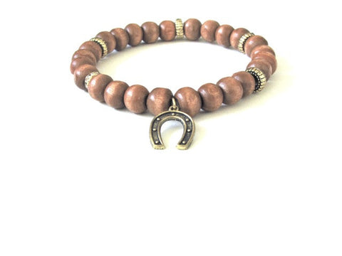 Tan Wood Horse Shoe Charm Bracelet