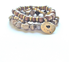 "Tan Wood ""Live Life, Follow Your Heart"" Stack"