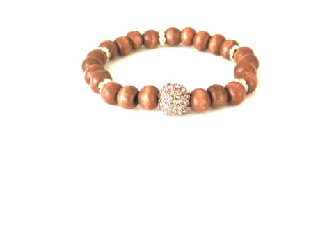 Tan Wood Stardust Bracelet