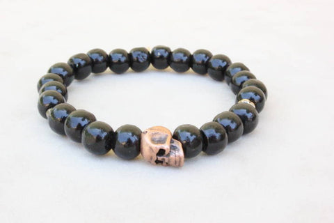 Black Wood Bronze Skull Bracelet