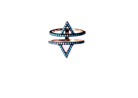 Double Triangle Turquoise Ring