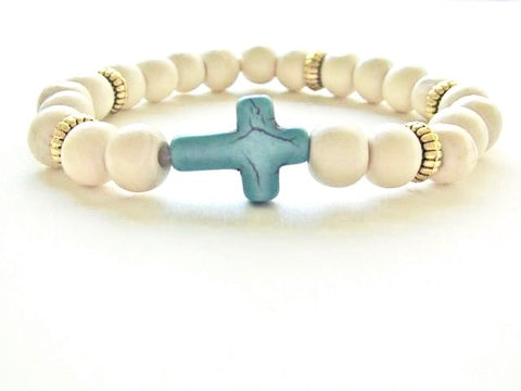 Light Wood Turquoise Cross Bracelet