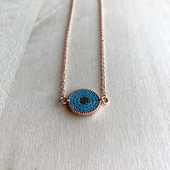 Rose Gold Turquoise Evil Eye Necklace