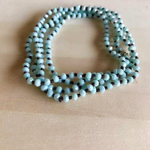 Knotted Mystic Blue Wrap Necklace/Bracelet