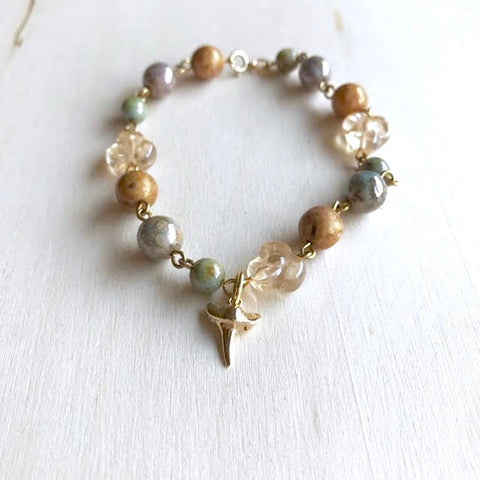 Pearl Link Shark Tooth Charm Bracelet