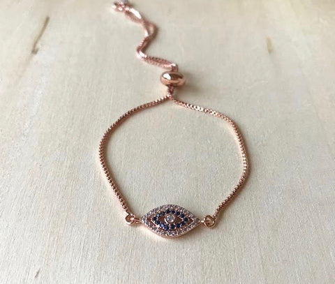 Rose Gold Evil Eye Pull Bracelet