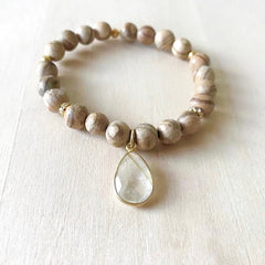 Wood Quartz Gemstone Bracelet