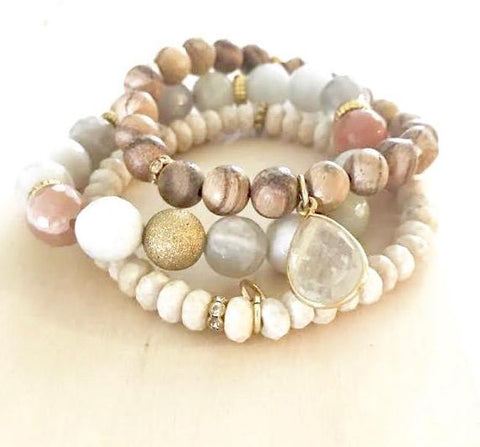 Winter White Agate Stack