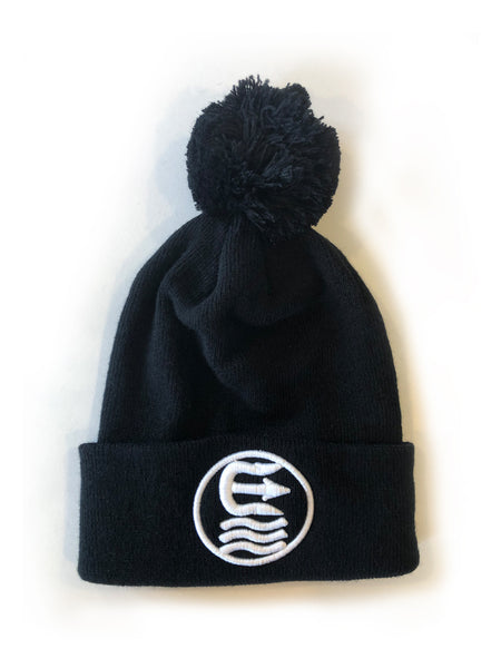 ring pom pom beanie with white thread