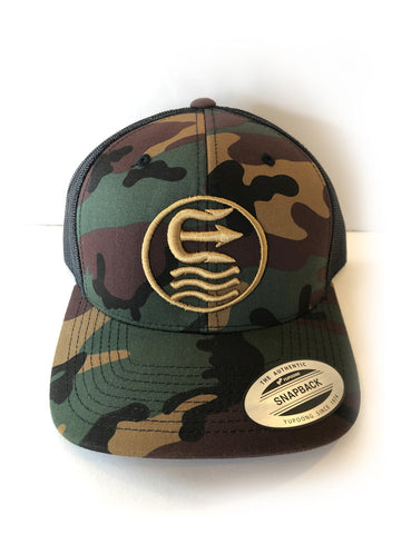 ring retro camo trucker hat
