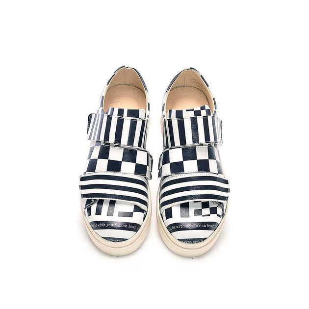 Black and White Slip on Sneakers Shoes NAC111, Goby, NEEFS Slip on Sneakers Shoes