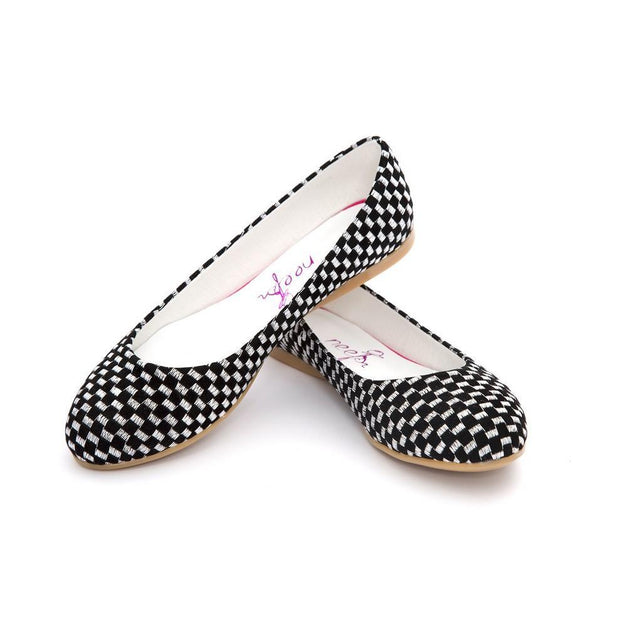 Black and White Squares Ballerinas Shoes NFS204, Goby, NEEFS Ballerinas Shoes