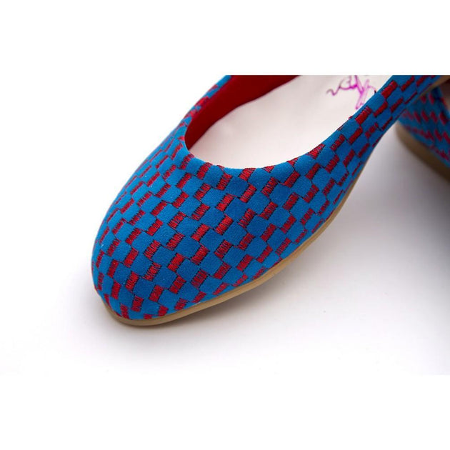 Red and Blue Squares Ballerinas Shoes NFS209