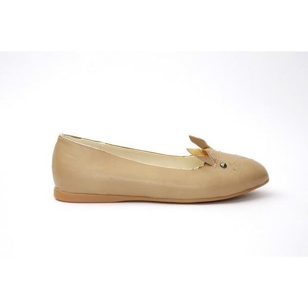 Beige Cat Ballerinas Shoes NKB19, Goby, NEEFS Ballerinas Shoes