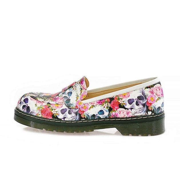 Skull and Flowers Oxford Shoes NMOX101