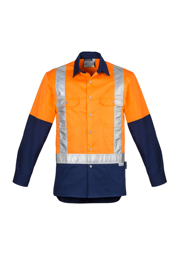 Mens Hi Vis Spliced Industrial Shirt - Shoulder Taped