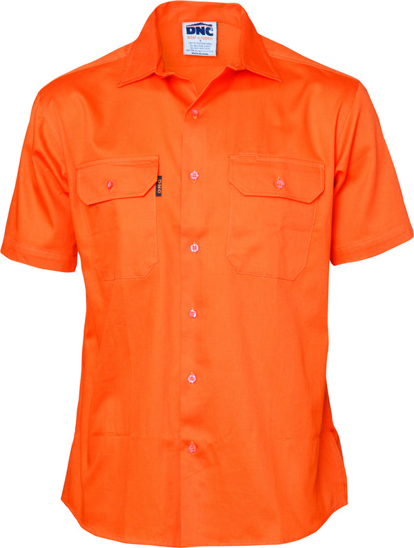 Mens HiVis Cotton Drill Short Sleeve
