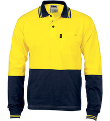 HiVis Cool-Breeze Cotton Long Sleeve Jersey Polo Shirt With Under Arm Cotton Mesh