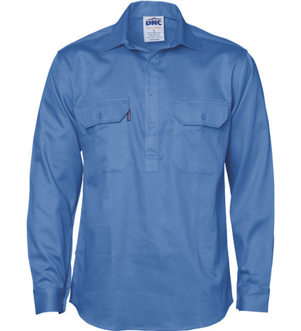 Picture of Mens Close Front Cotton Drill Long Sleeve Shirt With Gusset Sleeve