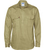 Mens Close Front Cotton Drill Long Sleeve Shirt With Gusset Sleeve