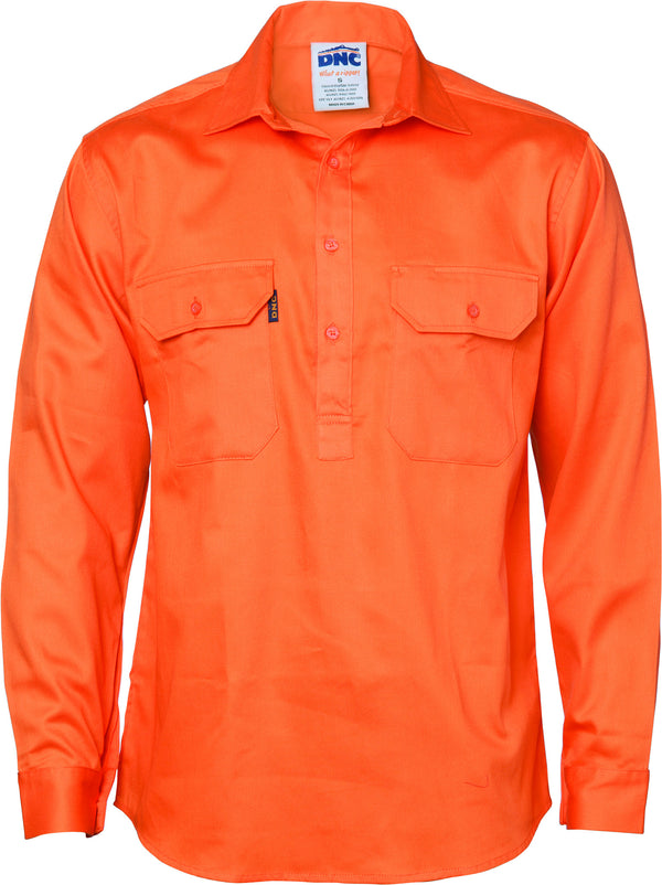 HiVis Close Front Cotton Drill Long & Gusset Sleeve