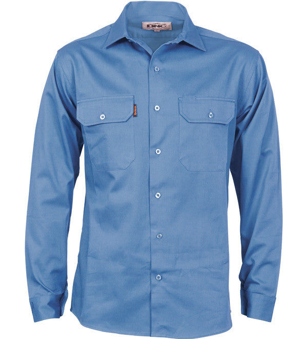 Mens Cotton Drill Long Sleeve Shirt With Gusset Sleeve