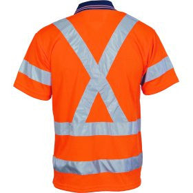 HiVis D/N Cool Breathe Short Sleeve Polo Shirt with Cross Back R/Tape & Additional Tape
