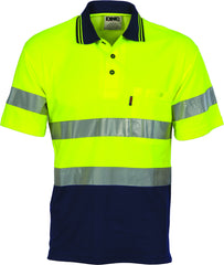 HiVis Two Tone Cotton Back Short Sleeve Polo