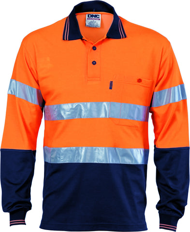 Picture of HiVis Two Tone Cotton Back Long Sleeve Polo