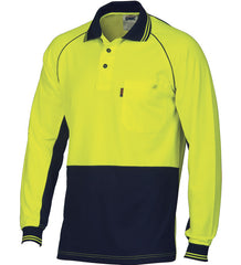 DNC HiVis Cotton Backed Cool-Breeze Contrast Long Sleeve Polo