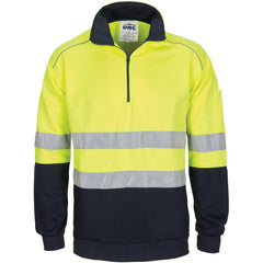 HiVis 1/2 Zip Fleecy with Hoop Pattern CSR Reflective Tape