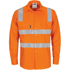 HiVis Cool-Breeze Long Sleeve Cotton Shirt with Hoop & Shoulder CSR R/Tape