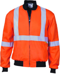 HiVis Cotton Bomber Jacket With Cross Back & Additional 3M Reflective Tape
