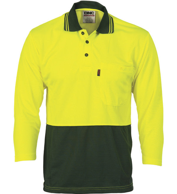 DNC HiVis Two Tone Cool Breathe 3/4 Sleeve Polo Shirt