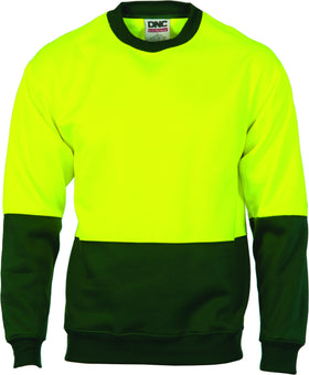 HiVis Two Tone Fleecy Sweat Shirt Crew-Neck