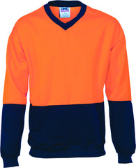 HiVis Two Tone Fleecy Sweat Shirt V-Neck