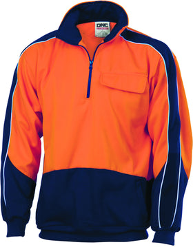 HiVis Two Tone 1/2 Zip Hi-Neck Panel Fleecy Windcheater
