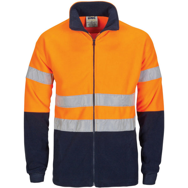 HiVis two tone full zip polar fleece with generic R/Tape