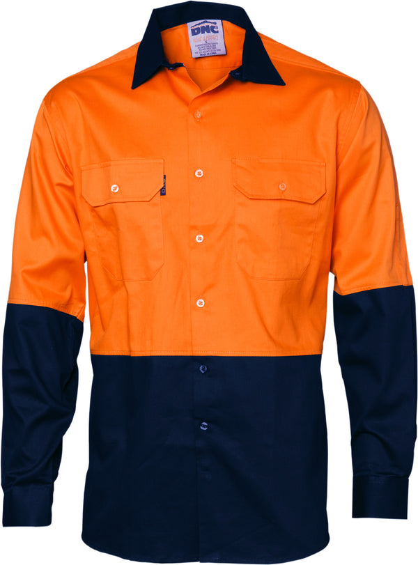Ladies HiVis Two Tone Cotton Drill Long Sleeve