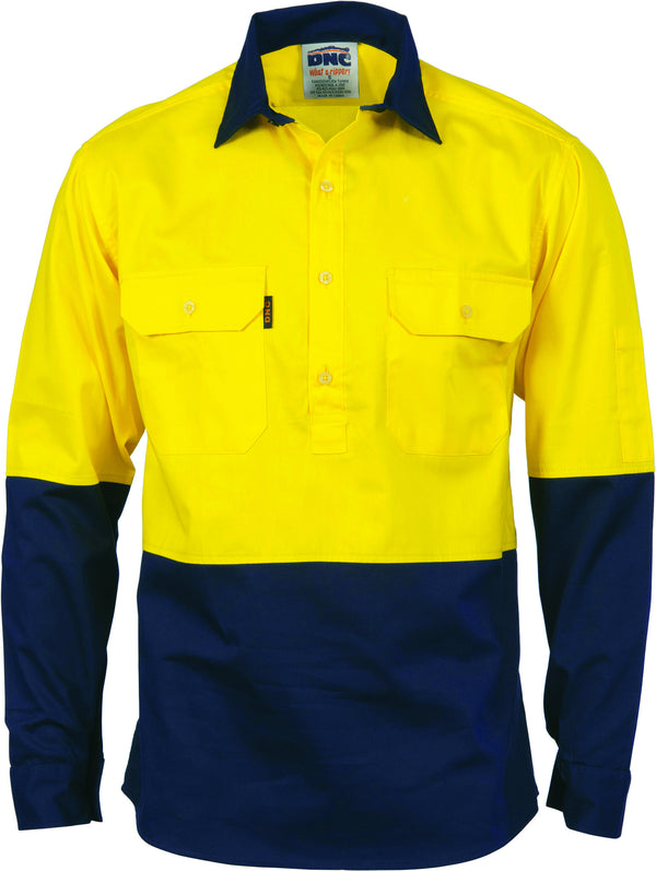 HiVis Two Tone Close Front Cotton Drill Long Sleeve Guest Sleeve