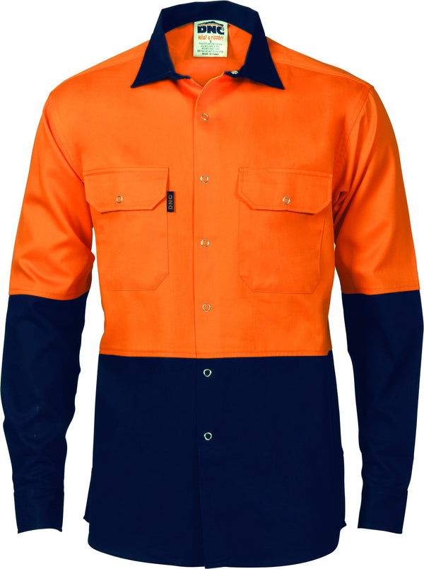 HiVis Two Tone Drill Shirt With Press Studs