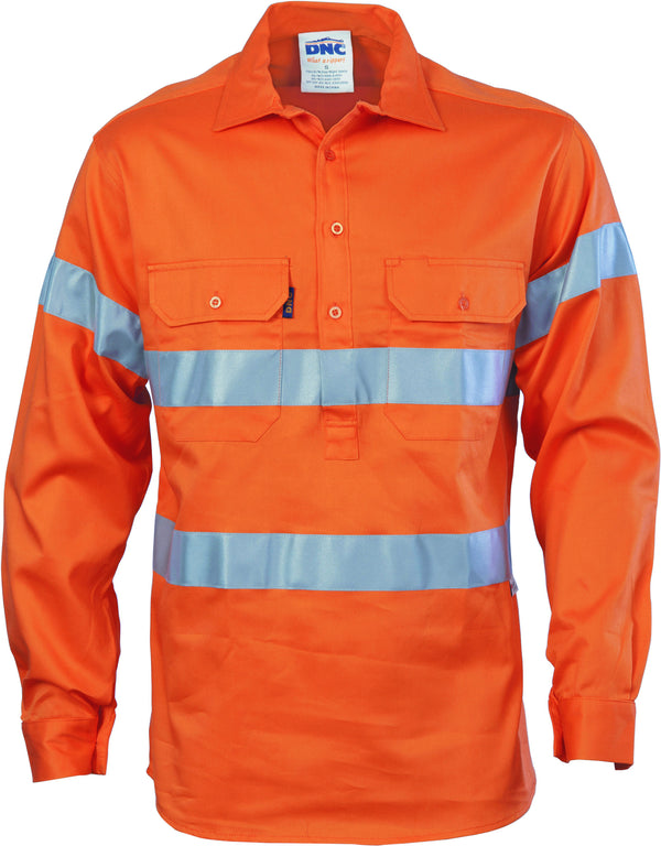 HiVis Close Front Cotton Drill Long Sleeve With 3M Reflective Tape