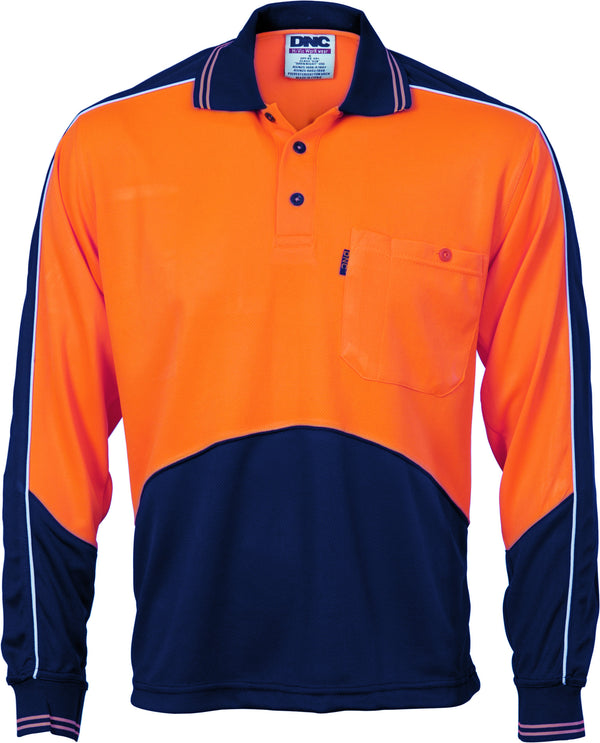 HiVis Cool Breathe Panel Long Sleeve Polo Shirt