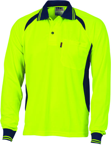 Picture of Cool-Breeze Contrast Long Sleeve Mesh Polo